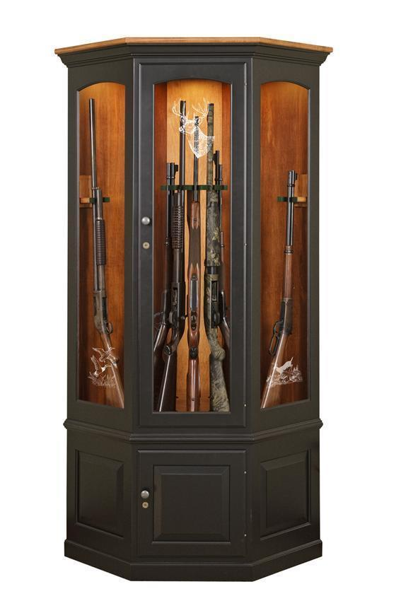 Beautiful Amish Corner Gun Safe Cabinet