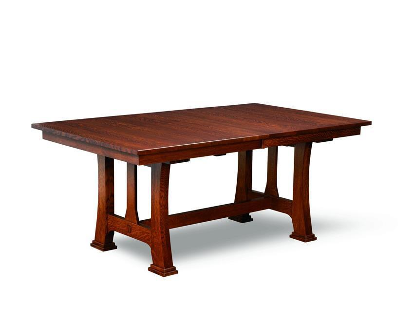 Amish Custer Mission Trestle Dining Table - Trestle dining room table