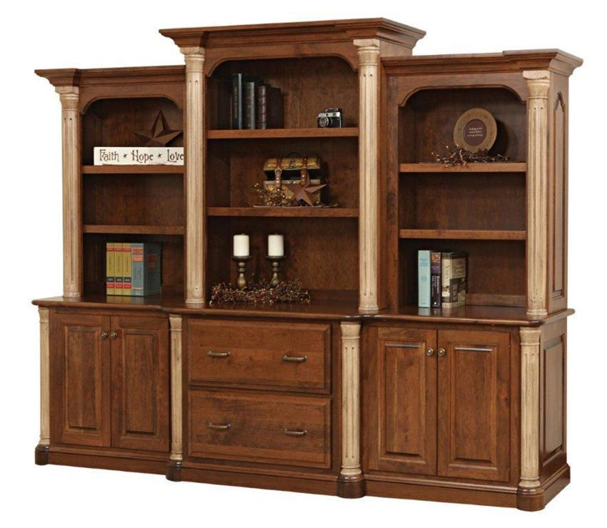 Attractive Amish Jefferson Office Storage Wall Unit With Optional Bookcase Top