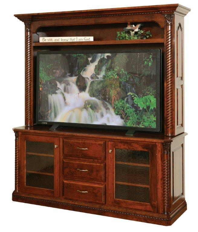 Lexington 68 TV Stand with Optional Hutch from DutchCrafters Amish
