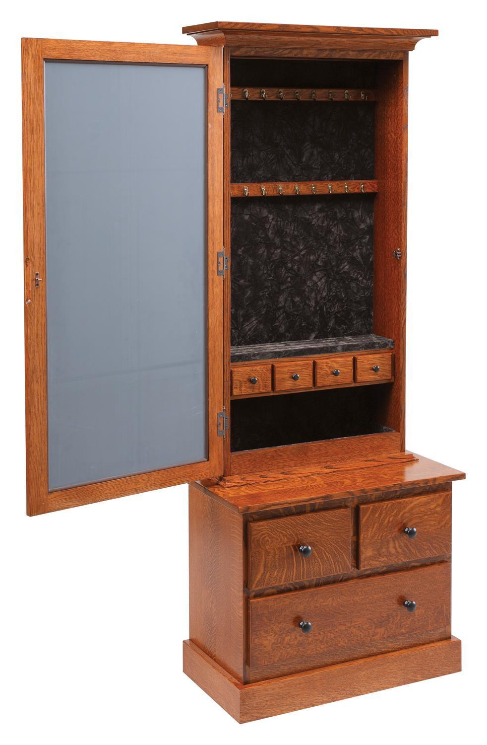 Mission Style Mirrored Jewelry Armoire from DutchCrafters Amish