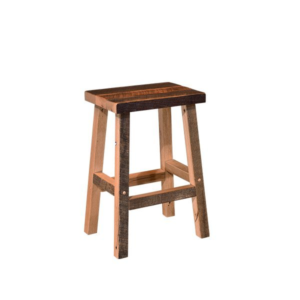 Amish Reclaimed Oak Wood Bar Stool With Regular Seat