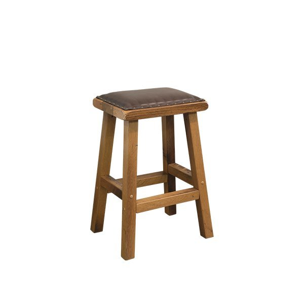 Amish Reclaimed Oak Wood Bar Stool With Leather Seat
