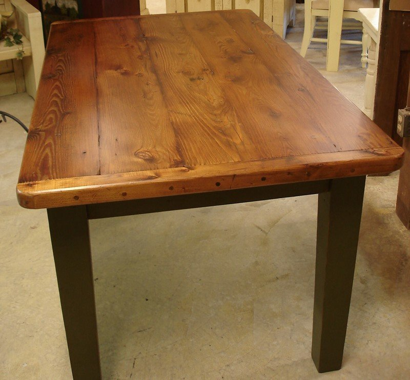 Charming Amish Reclaimed Old Wood Plank Farm Table With Breadboard Ends