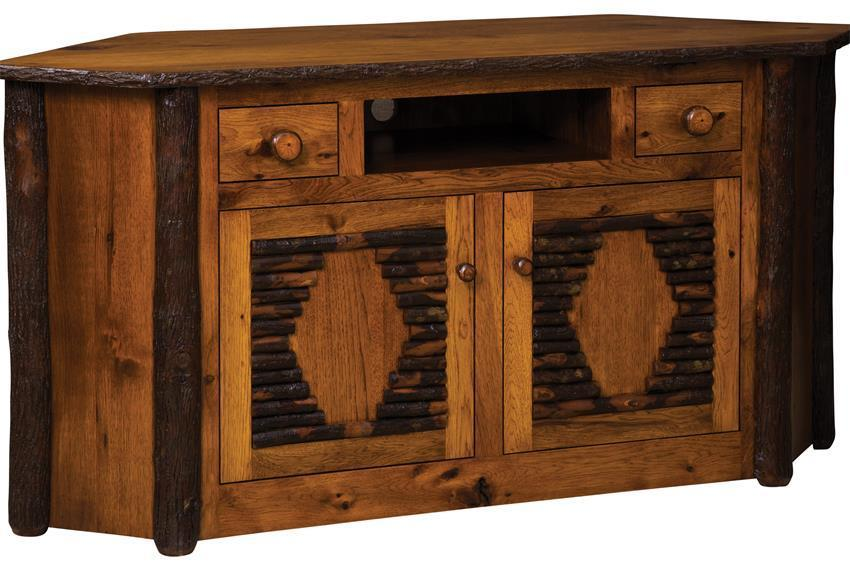 Rustic Hickory Corner Tv Stand From Dutchcrafters Amish Furniture