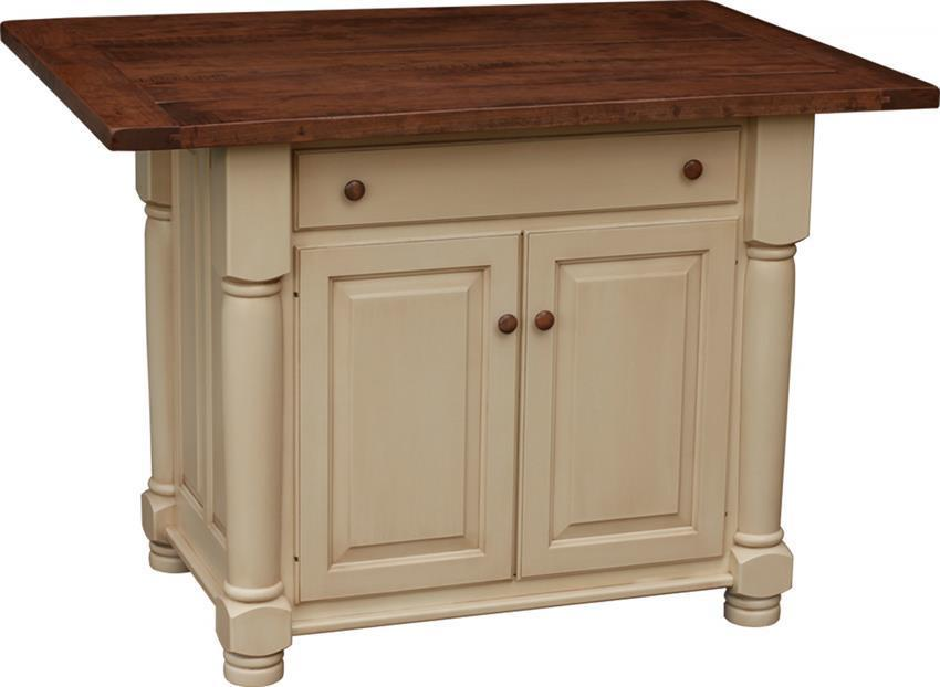 amish turned leg kitchen island with two doors  rh   dutchcrafters com