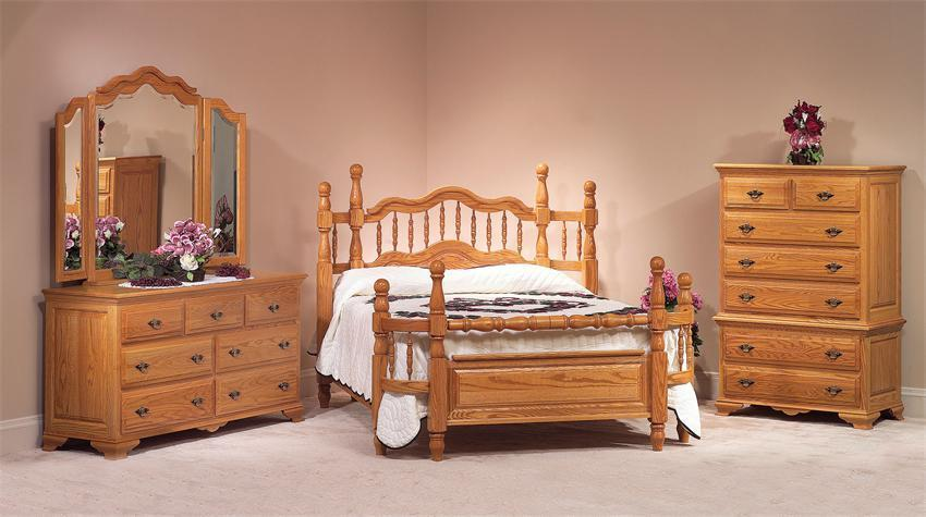 Oak Wrap Around Four Piece Bedroom Set from DutchCrafters Amish