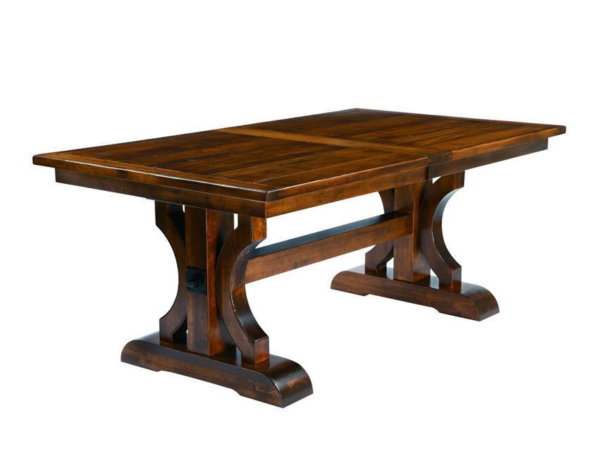 Amish Trestle Dining Table with Plank Top