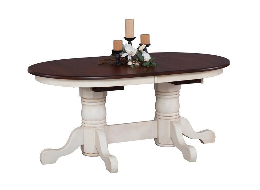 Amish Nantucket Double Pedestal Dining Room Table