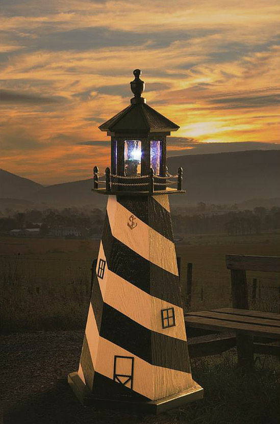 Attractive Amish Made Cape Hatteras Wooden Garden Lighthouse