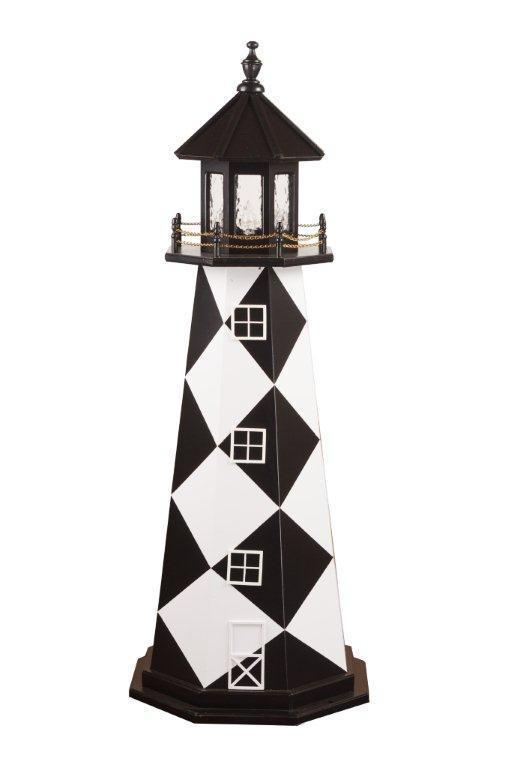 Captivating Amish Made Cape Lookout, NC Wooden Garden Lighthouse