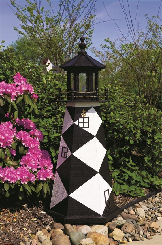 Amish Made Cape Lookout Wooden Garden Lighthouse