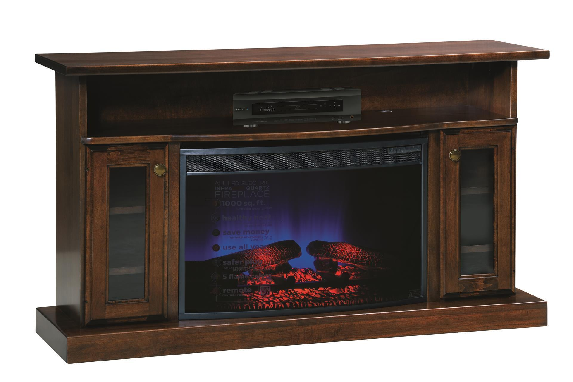 The 49 Electric Fireplace TV Stand provides a warm glow on a cold winter
