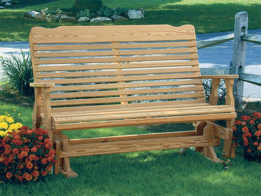 Perfect Amish Pine Wood Curve Back Glider