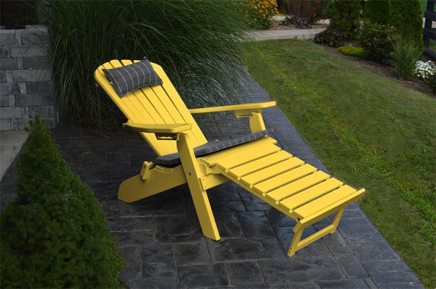 Folding And Reclining Poly Adirondack Chair With Pullout Ottoman