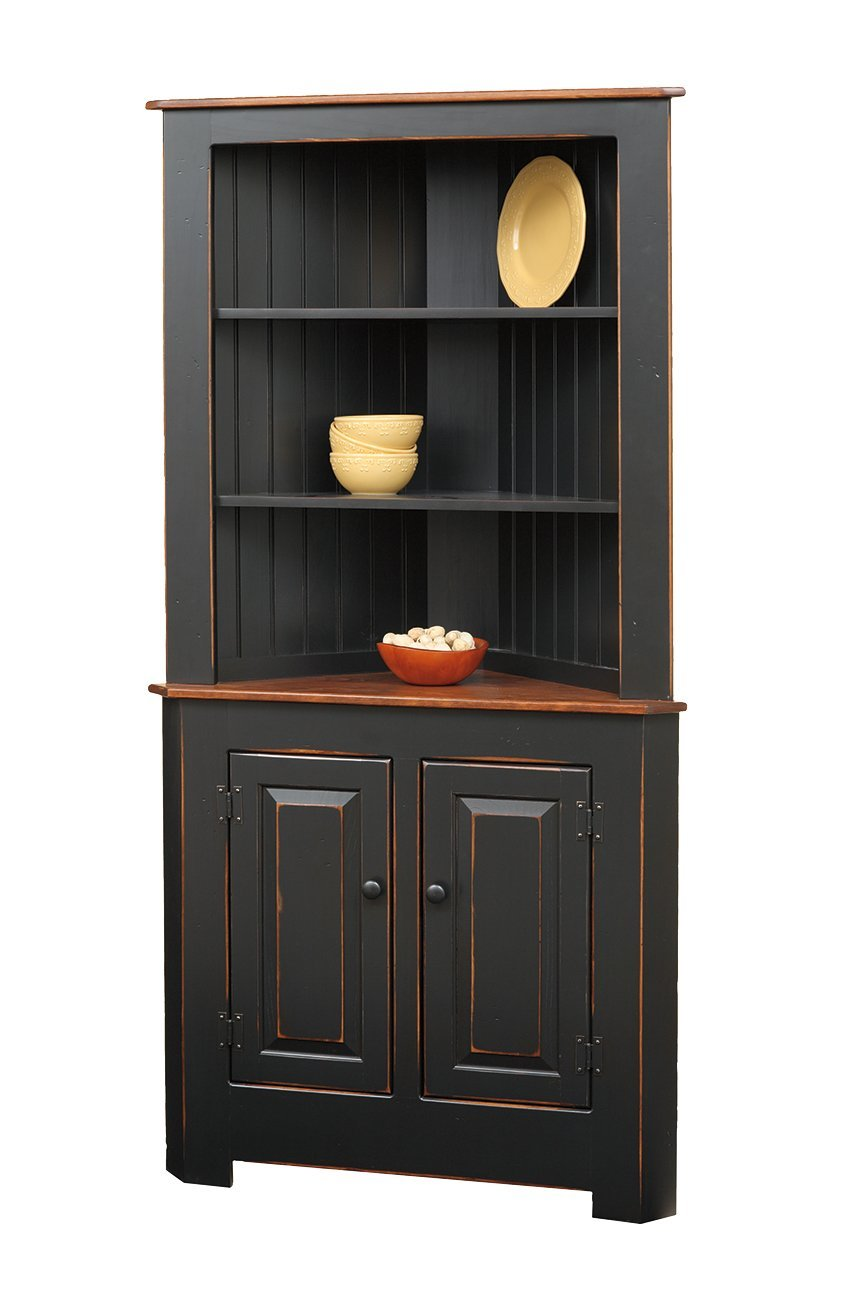 Lancaster Pine Corner Hutch - Solid Pine Kitchen Corner Hutch From DutchCrafters Amish Furniture