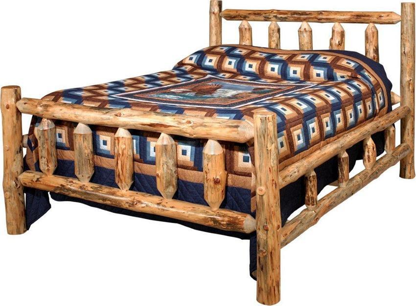 Amish Lodge Pole Log Bed
