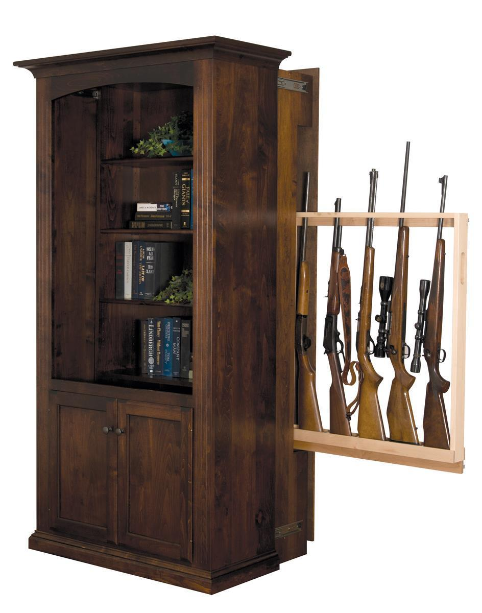 Patriot Large Bookcase With Hidden Gun Cabinet