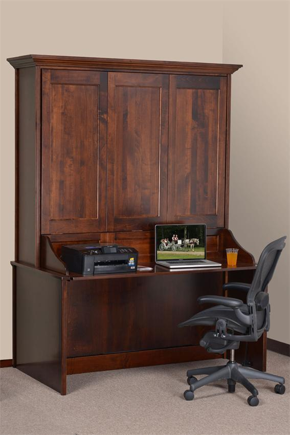 queen desk bed maple rich tobacco murphy combo kit wall uk diy