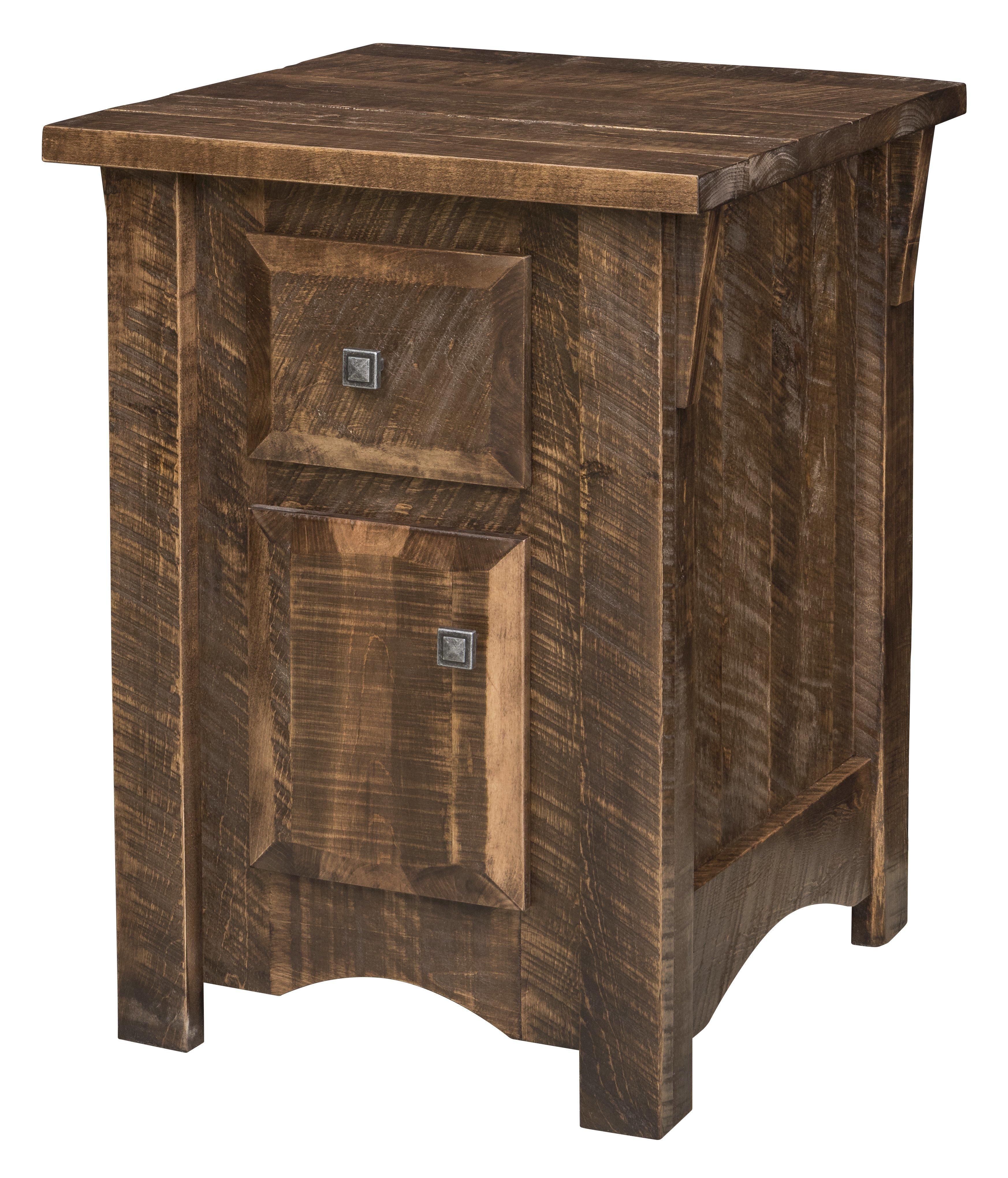 Rough Cut Maple Wood 1 Drawer Door Nightstand