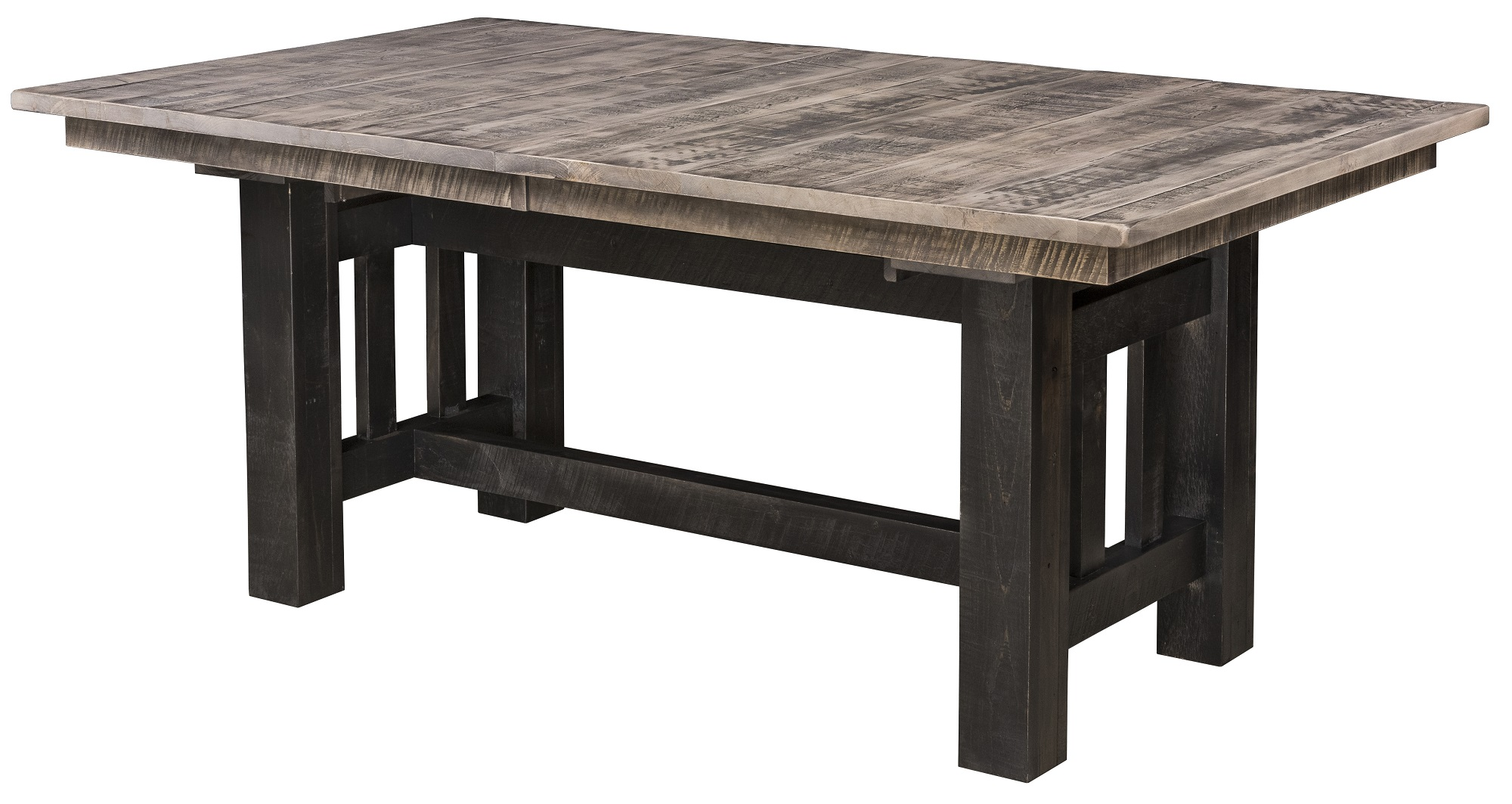 Rough Cut Maple Wood Trestle Dining Table