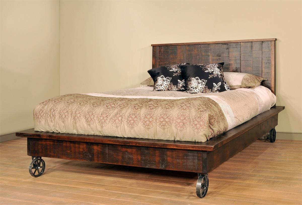 Ruff Sawn Steampunk Platform Bed from DutchCrafters Amish Furniture
