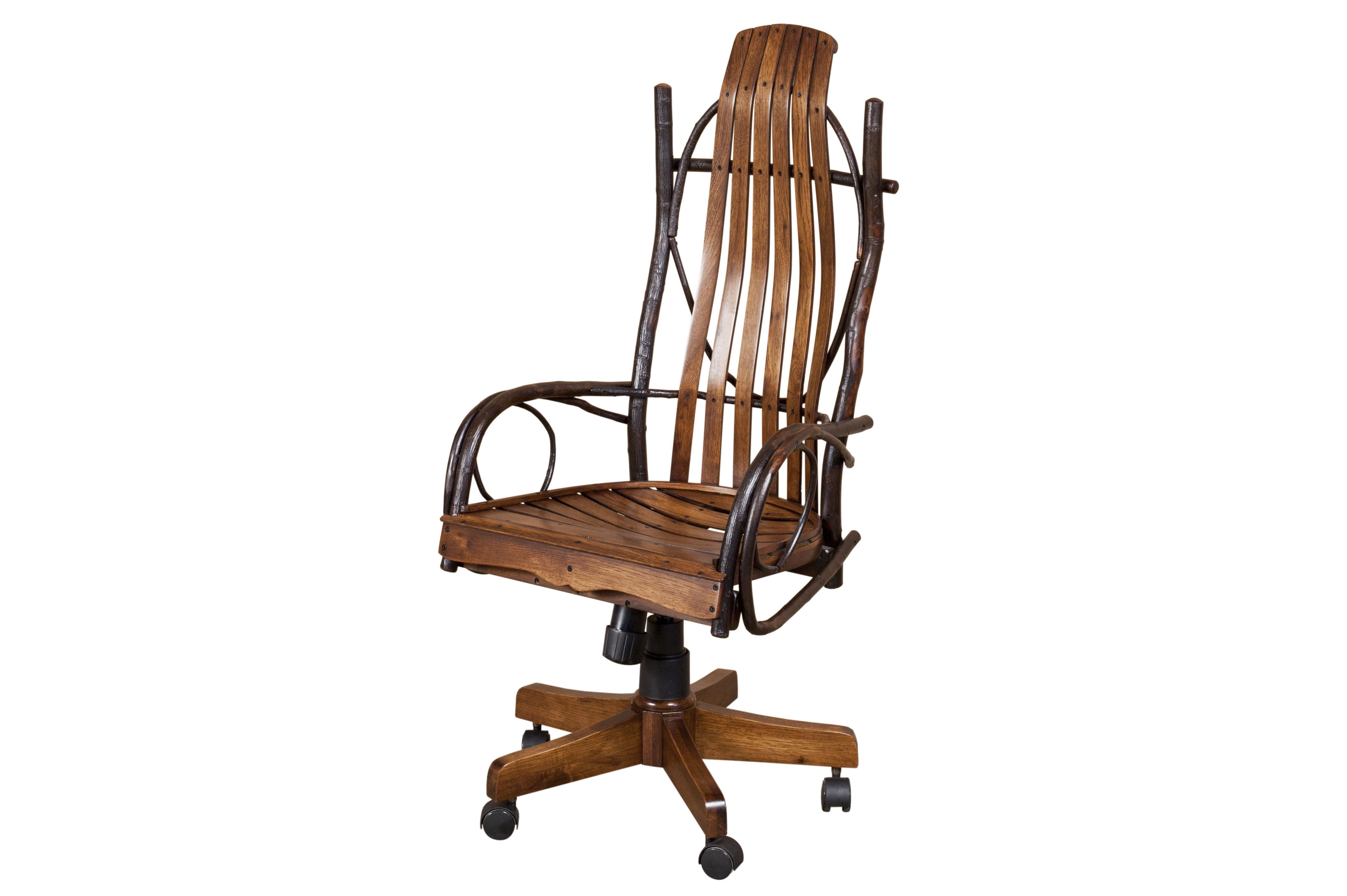 amish rustic hickory twig desk chair with arms