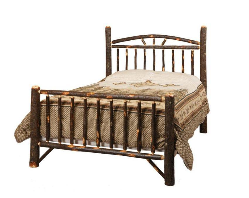 Amish Rustic Cabin Hickory Wagon Wheel Bed
