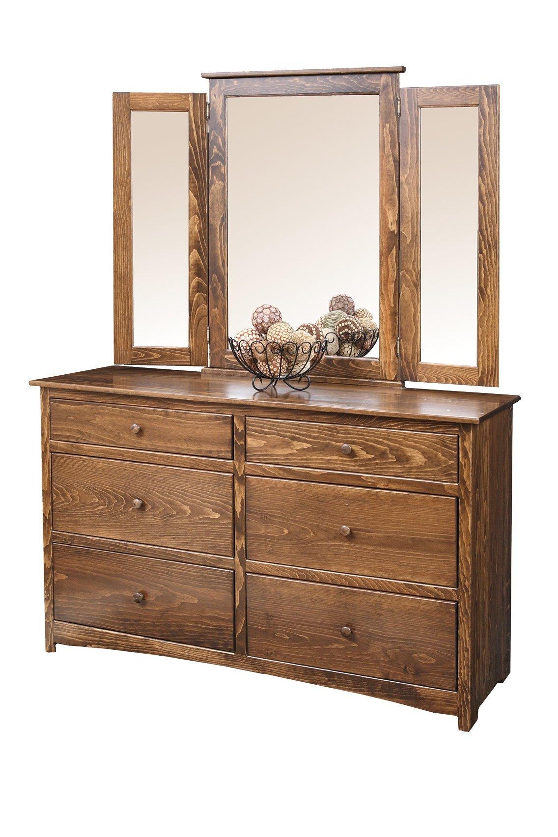 Shaker Pine Wood Dresser With Mirror