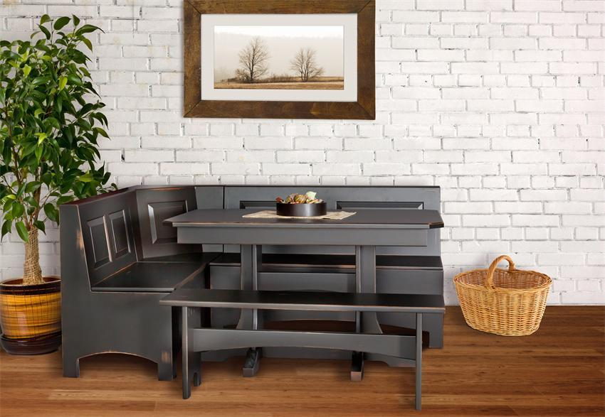 trestle table corner breakfast nook