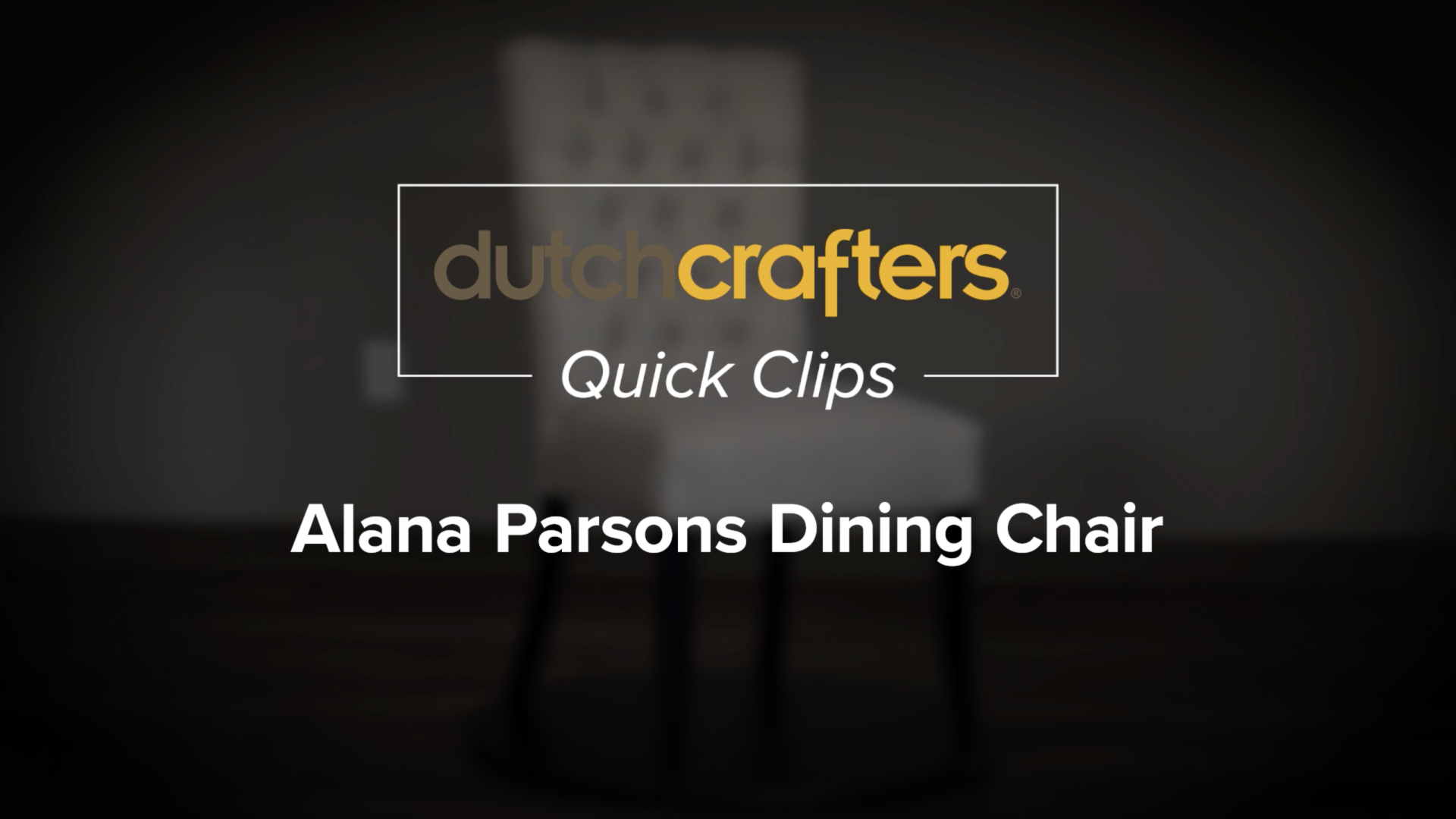 Amish Alana Parsons Dining Chair Video Title Screen