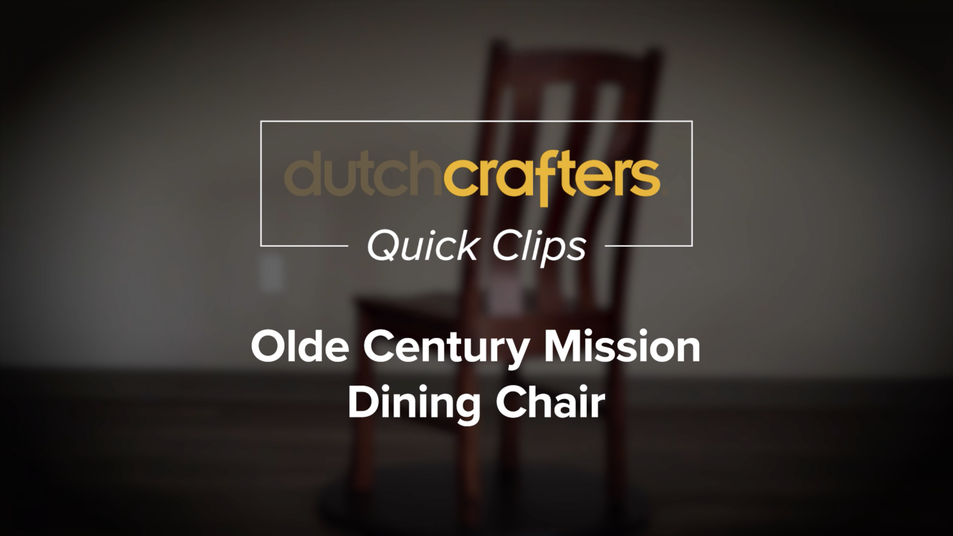 Olde Century Mission Dining Chair Video Title
