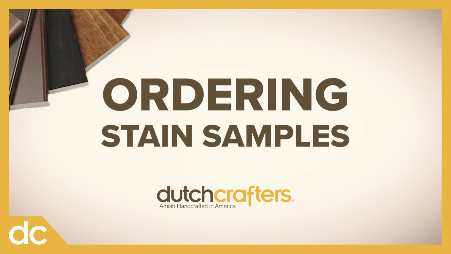 Amish Solid Wood Stain Samples at DutchCrafters Video